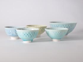 5 Little bowls, impressed pattern. 2018.
