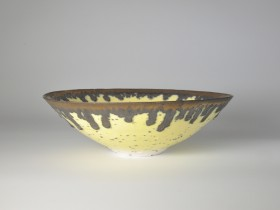 Yellow and bronze river grogged porcelain bowl. 22.5cm diameter. 2018