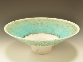 Grogged turquoise and white bowl 32.5cm diameter.