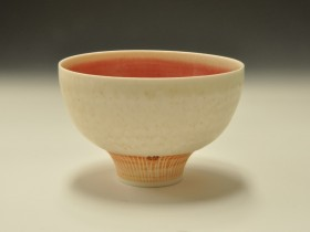 Pink and ash glazed bowl with incised foot 11.5cm diameter.