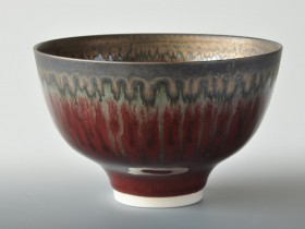 Red and bronze bowl 14.5cm diameter.