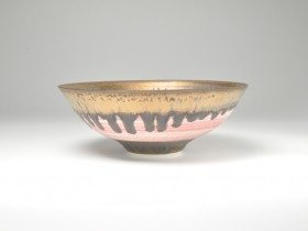 Small textured light pink and bronze porcelain bowl. 17cm diameter. 2018
