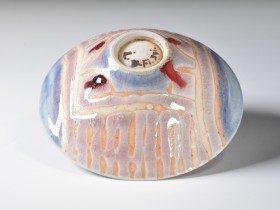 1986.Wax resist decoration, copper-red glaze.Reduction fired. Cone 9
