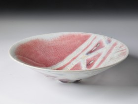 1986.Wax resist decoration, copper-red glaze.Wood fired.