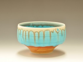 Turquoise and wood ash bowl 12cm diameter.